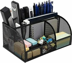 Office Supplies Pen Holder And Storage Baskets 7 Compartments Black