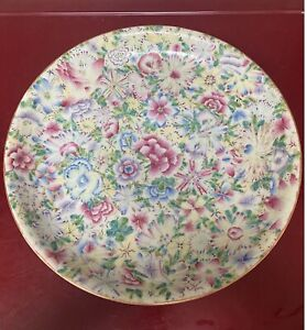 A Large Hundreds Flowers Antique Chinese Famille Rose Charger 16 2