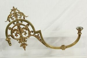 Antique Gas Lamp Ornate Sconce Arm Brass Gilt Early Vintage Unconverted