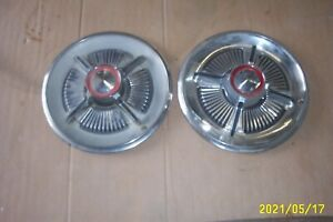 1965 Ford Galaxie Spinner Hubcaps Pair Wheel Cover Vintage Antique