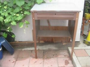 Sturdy Vintage Steel Warehouse Auto Shop Or Service Writers Desk With Drawer
