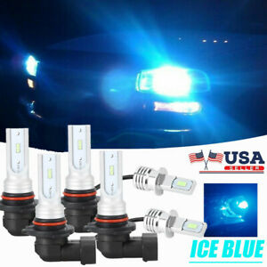 Led Headlights With Fog Bulbs Kit 8000k Ice Blue For Chrysler Sebring 1995 2000