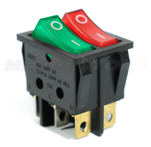 Dual Spst Rocker Switch Red green Neon Lamp On off Kcd2 16a 250vac Usa Seller