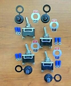4 Bbt 2 Position 20 Amp Rv Toggle Switches W terminals Waterproof Boots