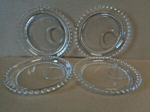 Imperial Candlewick Set Of 4 Canape Plates 6 With Offset 2 Cup Ring 400 36