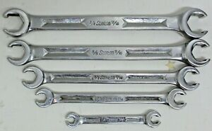 5 Pc Snap On Tools Sae Flare Nut Line Wrench Set 1 4 13 16