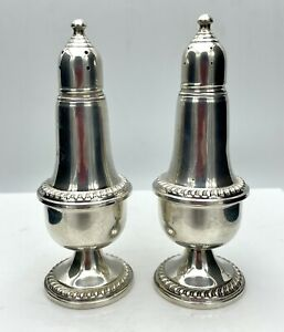Empire Sterling Silver Weighted Salt Pepper Shakers 242 Glass Inserts 5 Tall
