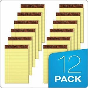 12 Pack Note Pads Jr Legal Ruled 5 X 8 Canary Yellow Small 50 Sheet Notepads New