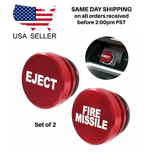 Aluminum Eject And Fire Missile Button Car Cigarette Lighter Plug Cover Usa Ship