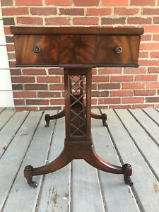 Weiman Leather Top Wood Side End Table 1 Drawer Wheels Antique Heirloom 81554163