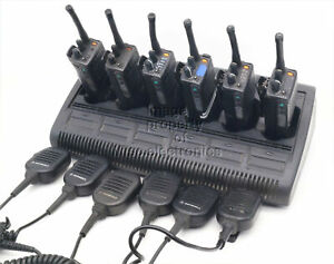 6 Ht1000 Two Way Radios Uhf 16 Channel W rack Charger And Speaker Mics C