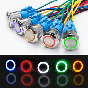 19mm 12v Led On Off Push Button Power Switch Latching With Wire Socket Harness