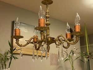 Antique Solid Brass Bronze Crystal Chandelier 5 Ornate Arms W Bulbs Vintage