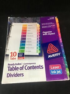 Avery Ready Index Durable Table Of Contents Dividers 11188 10 Tabs 6sets