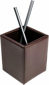 Dacasso Dark Brown Bonded Leather Pencil Cup Brand New