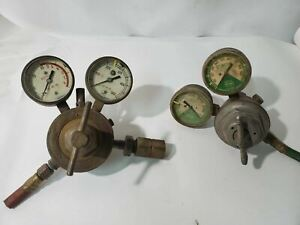 Lot Of 2 Vintage Regulators Linde Air Products And Harris Brass
