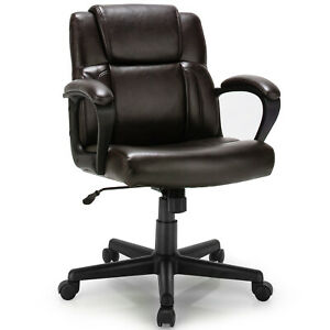 Costway Executive Leather Office Chair Adjustable Computer Desk Chair W Armrest
