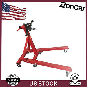 Engine Stand Folding Motor Hoist Dolly Mover Auto Repair Rebuild Jack 2000lbs