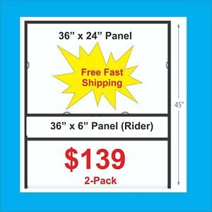 2 pack 36 X 24 Metal H frame For Real Estate Signs W 36 X 6 Rider Free Ship