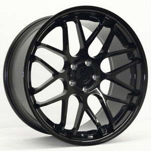 20 Gloss Black Downforce Dc8 Staggered Wheels 20x8 5 20x10 5x114 3 05 Mustang