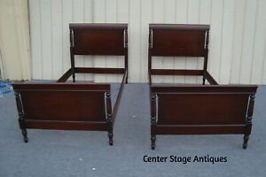 61544 Pair Kindel Solid Mahogany Twin Size Beds Quality