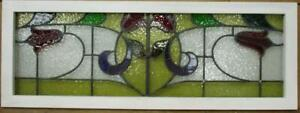 Old English Leaded Stained Glass Window Transom Lovely Double Flower 44 X 16