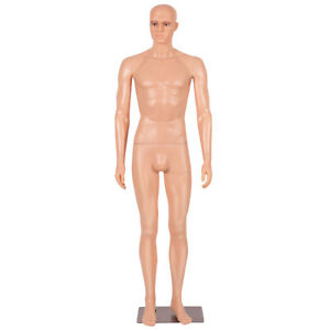 6 Ft Male Mannequin Make up Manikin Metal Stand Plastic Full Body Realistic New