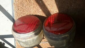 2 Vintage 3 Tail License Plate Light W Yankee 256 Glass Lens