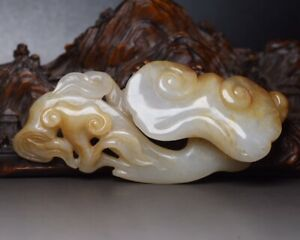 Chinese Antique Qing Dynasty Handcarved White Jade Beast Flower Ruyi Statues