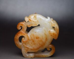 Chinese Antique Qing Dynasty Handcarved Hetian Jade Dragon Turtle Figurines