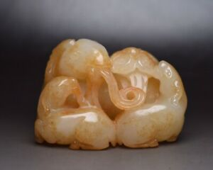 Chinese Antique Qing Dynasty Hand Carved Hetian White Jade Sanyang Kaitai Statue