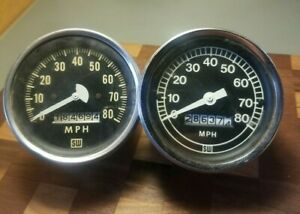 Vintage 2 Stewart Warner 0 80 Mph Speedometers Untested Sold As Is For Parts