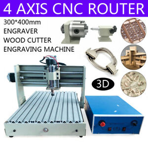 4axis Cnc 3040t Router Engraver Woodworking Milling Carving Machine 220v 400w Us