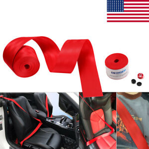 Red 3 6m Harness 3 Point Auto Car Racing Nylon Safety Retractable Lap Seat Belt
