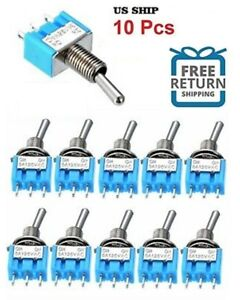 10pcs Ac On on Spdt 2 Position Micro Mini Toggle Switch 6 Amp Ac125v