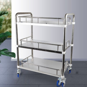 3 Layers Cart Trolley Lab Clinic Serving Cart W Lockable Wheel Stainless Steel