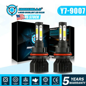 4 Sides 9007 Led Headlight Bulbs Conversion Kit High Low Beam 6000k White Lamps Fits 2004 Saturn Ion