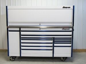 Snap On White Blue Trim 84 Epiq Tool Box Toolbox Stainless Power Top Hutch