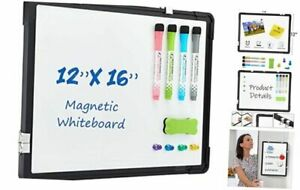 Small Dry Erase White Board 12 X 16 Magnetic Hanging Hanging 16 x12 Black