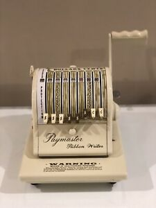 Vintage Paymaster Ribbon Writer Series 8000 Check Writer With Key mint Working