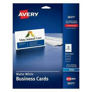 Avery 2 x3 1 2 White Business Cards Qty 100 Ink Jet 28371 Sealed