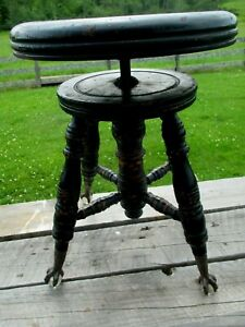 Antique Charles Parker Co Adjustable Piano Stool Claw Foot Glass Ball Feet