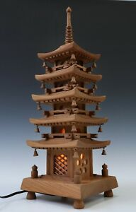 Japanese Vintage Wooden Figure Five Story Pagoda Lamp