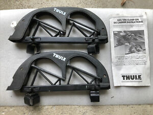 Thule 585 Angled 2 Pair Ski Carrier Roof Rack Square Bar Mounts With Key Locks