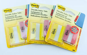 3m Post it 3 Pack Lot 44ea 132 Total 2 Wide Durable Index Tabs Red Yellow
