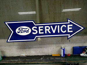 Ford Service X Large Heavy Porcelain Sign 48 X 19 Near Mint Very Nice