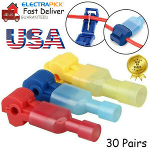 60pcs T tap Splice Wire Connector Insulated Spade Electrical Crimp Terminals Kit