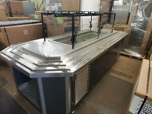 Vollrath Refrigerated Food Station Salad Bar Buffet Island With Sneeze Guard