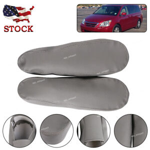 Front Synthetic Leather Seat Armrest Covers Gray For Honda Odyssey 2005 2010