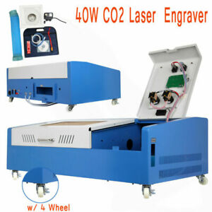 Used Laser Engraving Cutting Machine 40w Usb Co2 12 X 8 Movable W Wheel